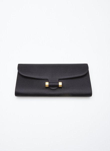 "Yves Saint Laurent Rive Gauche BLACK SATIN ""MUSE"" CLUTCH BAG"