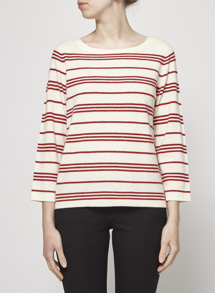A.P.C. OFF-WHITE WOOL SWEATER WITH RED STRIPES