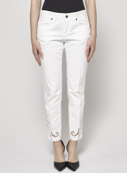 Stella McCartney WHITE EMBROIDERED GUIPURE LACE JEANS