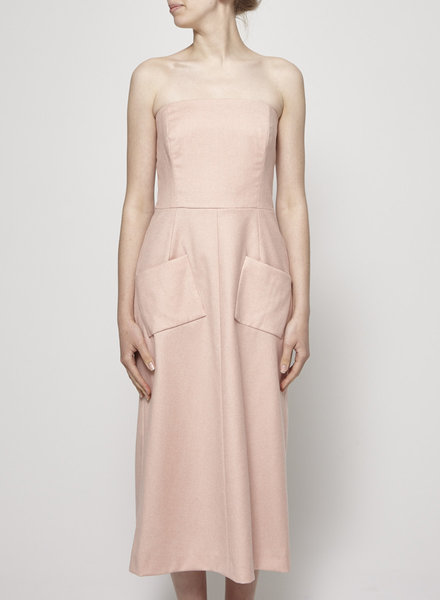 Michel Desjardins STRAPLESS PINK WOOL DRESS