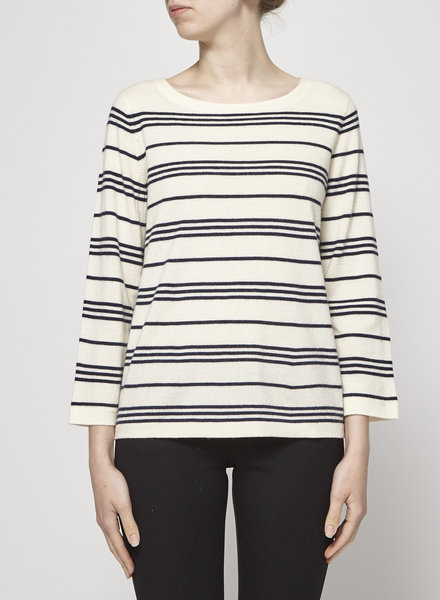 A.P.C. OFF-WHITE WOOL SWEATER WITH BLUE STRIPES