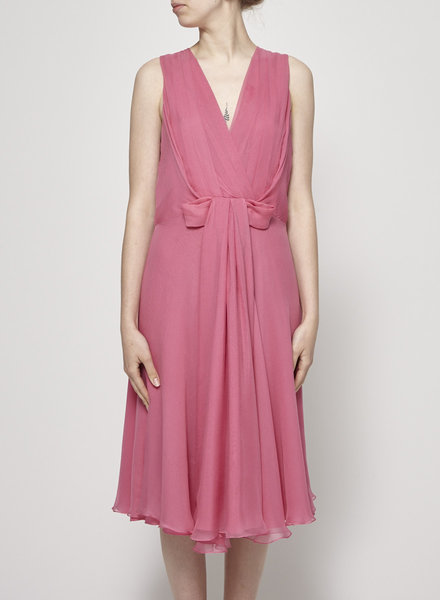 Christian Dior PINK DRAPED SILK DRESS