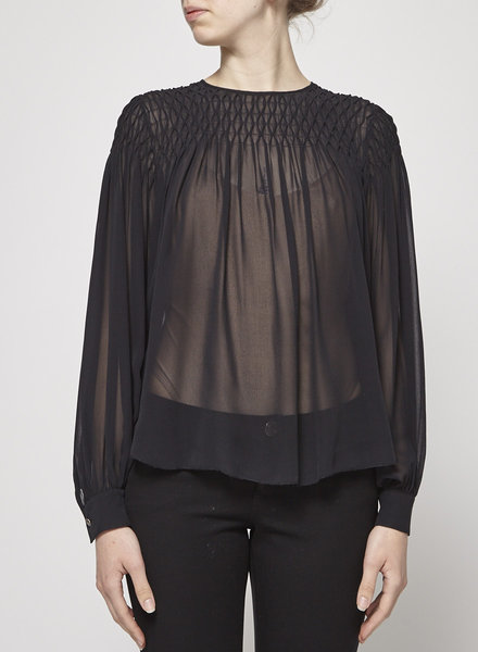 L'agence BLACK PLEATED SEE-THROUGH BLOUSE