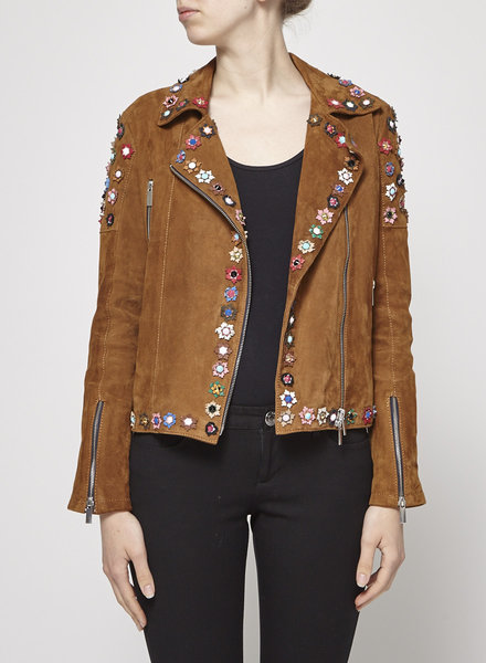 La canadienne TAWNY FLOWER-EMBELLISHED SUEDE BIKER JACKET