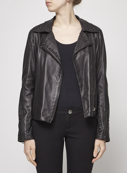 La canadienne STUDDED LEATHER BIKER JACKET