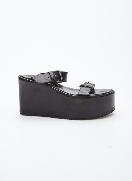 Ann Demeulemeester BLACK LEATHER SANDALS WITH WEDGE HEELS