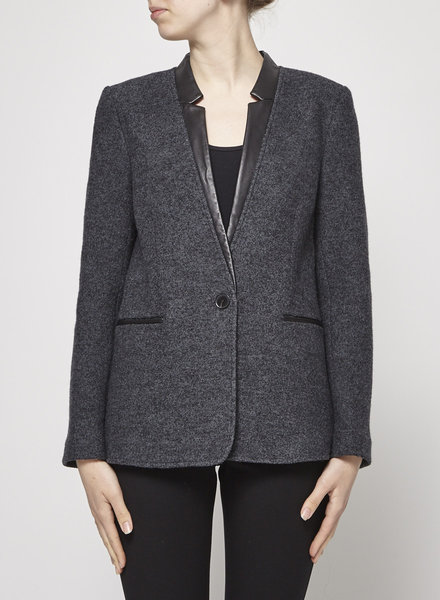 Judith & Charles GRAY WOOL JACKET WITH LEATHER DETAILS