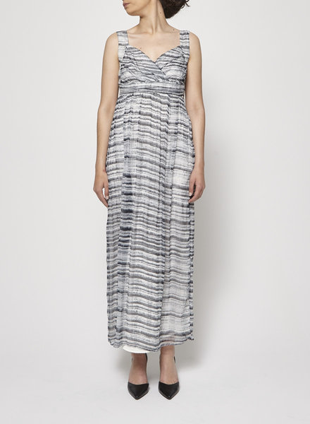 Pringle of Scotland PLEATED PRINTED SILK LONG DRESS