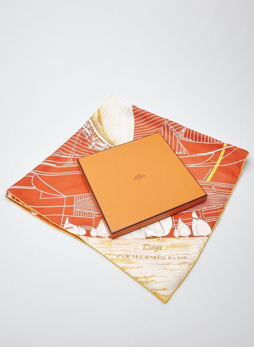 Hermès Orange Silk Sailboat Scarf