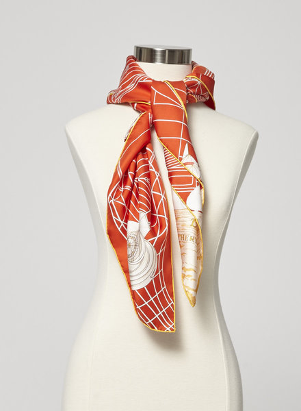 Hermès ORANGE SILK SAILBOAT SCARF