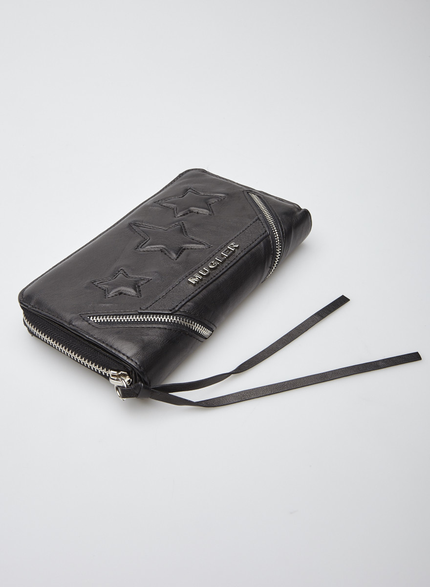 Mugler Black Vegan Leather Wallet
