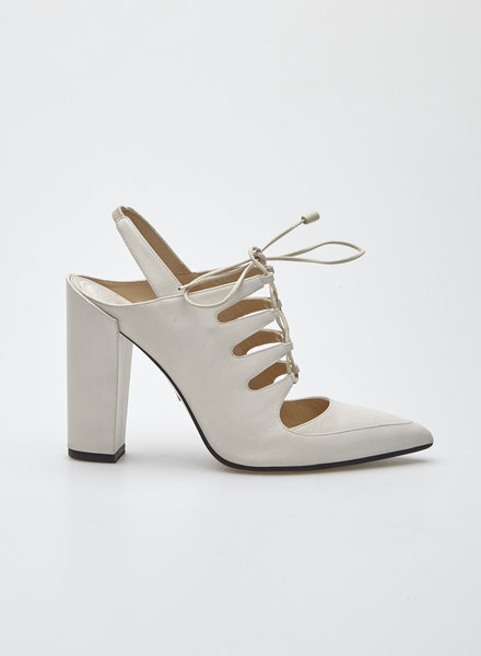 Paul Andrew WHITE BLOCK HEEL LACE-UP PUMPS