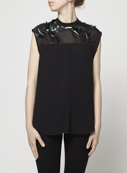 3.1 Phillip Lim BLACK SEQUIN-EMBELLISHED TOP