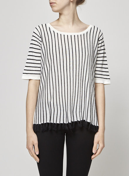 Weekend Max Mara POMPOM-EMBELLISHED STRIPED KNITTED TOP