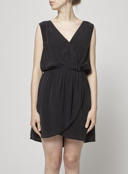 Joie BLACK DRAPED SILK DRESS