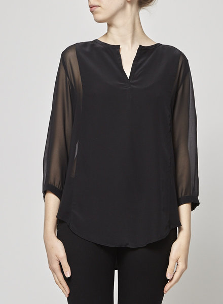 Judith & Charles BLACK SILK BLOUSE WITH DIAPHANOUS SIDES