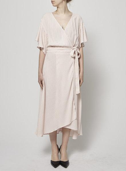 Elan PINK AND WHITE STRIPED WRAP DRESS