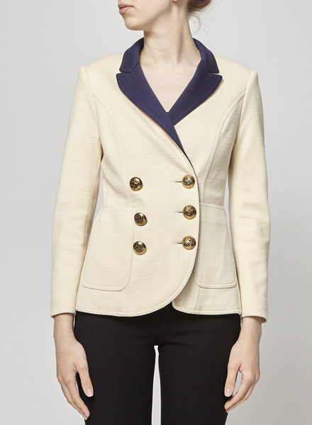 Smythe ON SALE - OFF-WHITE BLAZER WITH BLUE & GOLD DETAILS