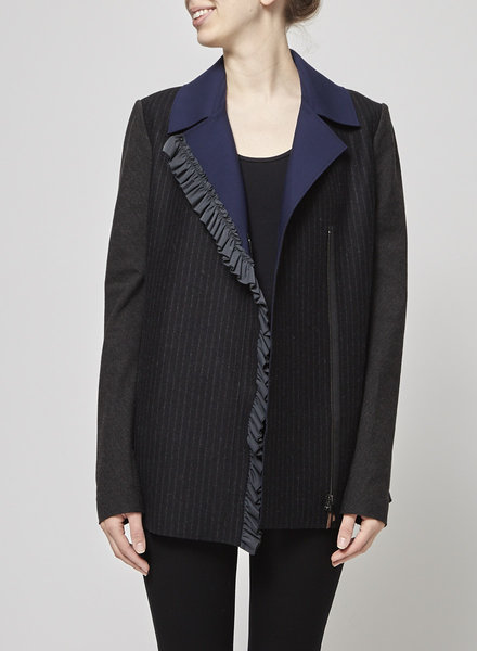 Marie Saint Pierre GRAY AND NAVY WOOL BLAZER