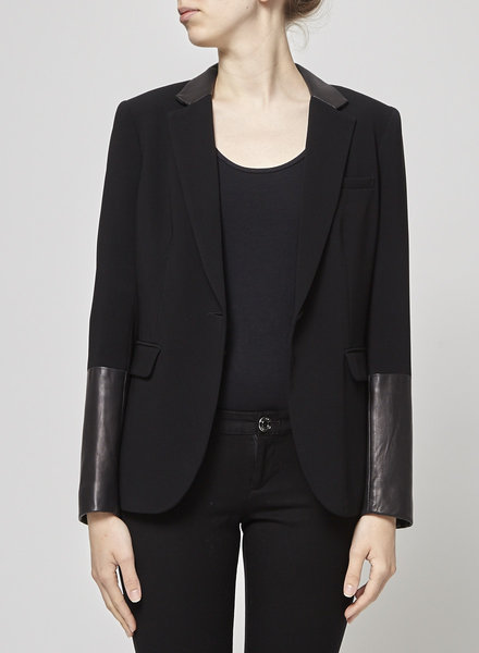 Rag & Bone LEATHER LAPEL & SLEEVES BLACK BLAZER