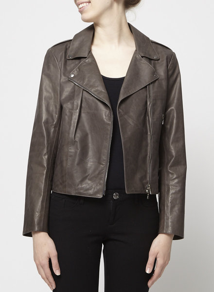 M0851 GREY-BROWN LEATHER JACKET