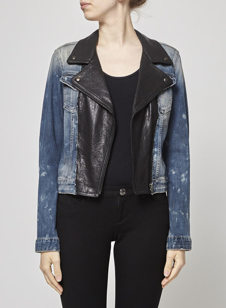 Imperial FAUX LEATHER DISTRESSED JEANS JACKET