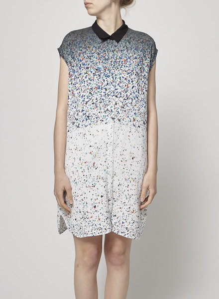 Cop.Copine WHITE SHIRT DRESS WITH COLORFUL PRINT