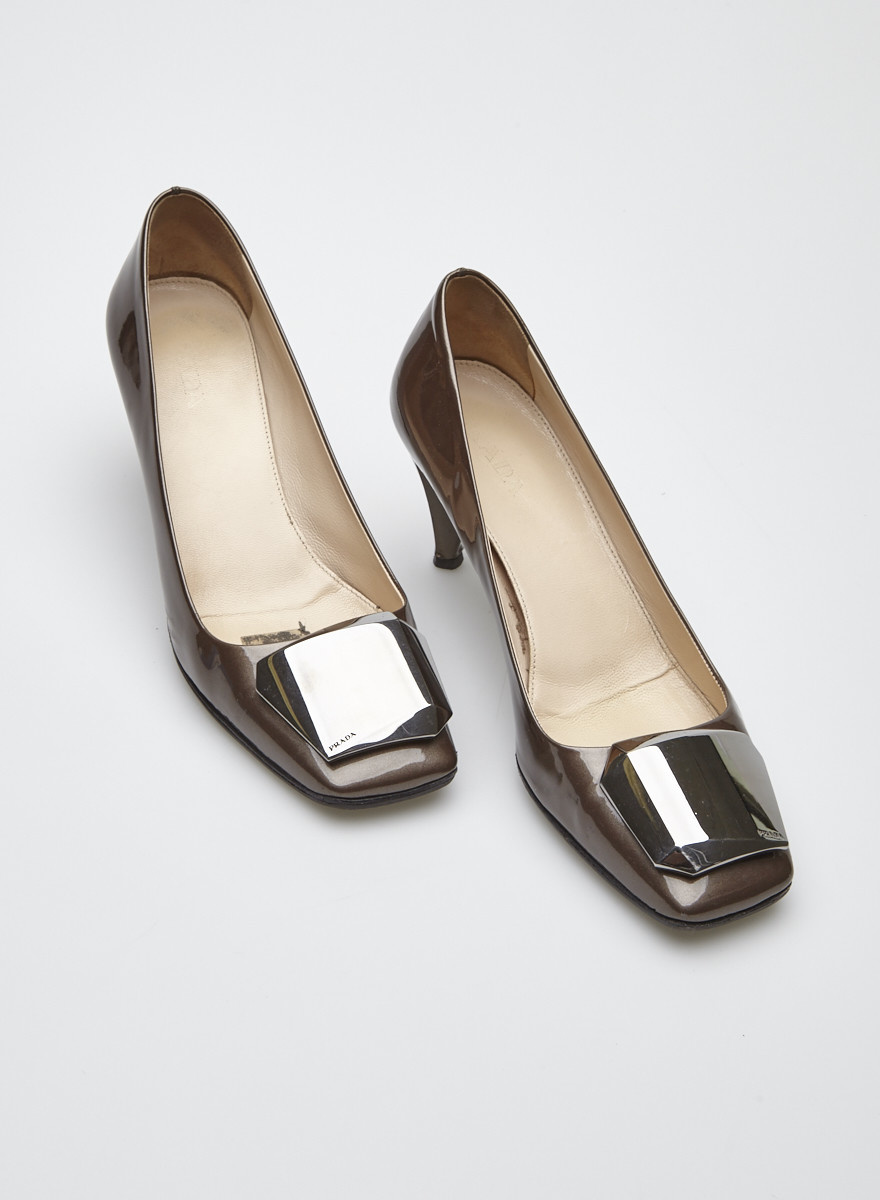 Prada Brown Patent Leather Shoes