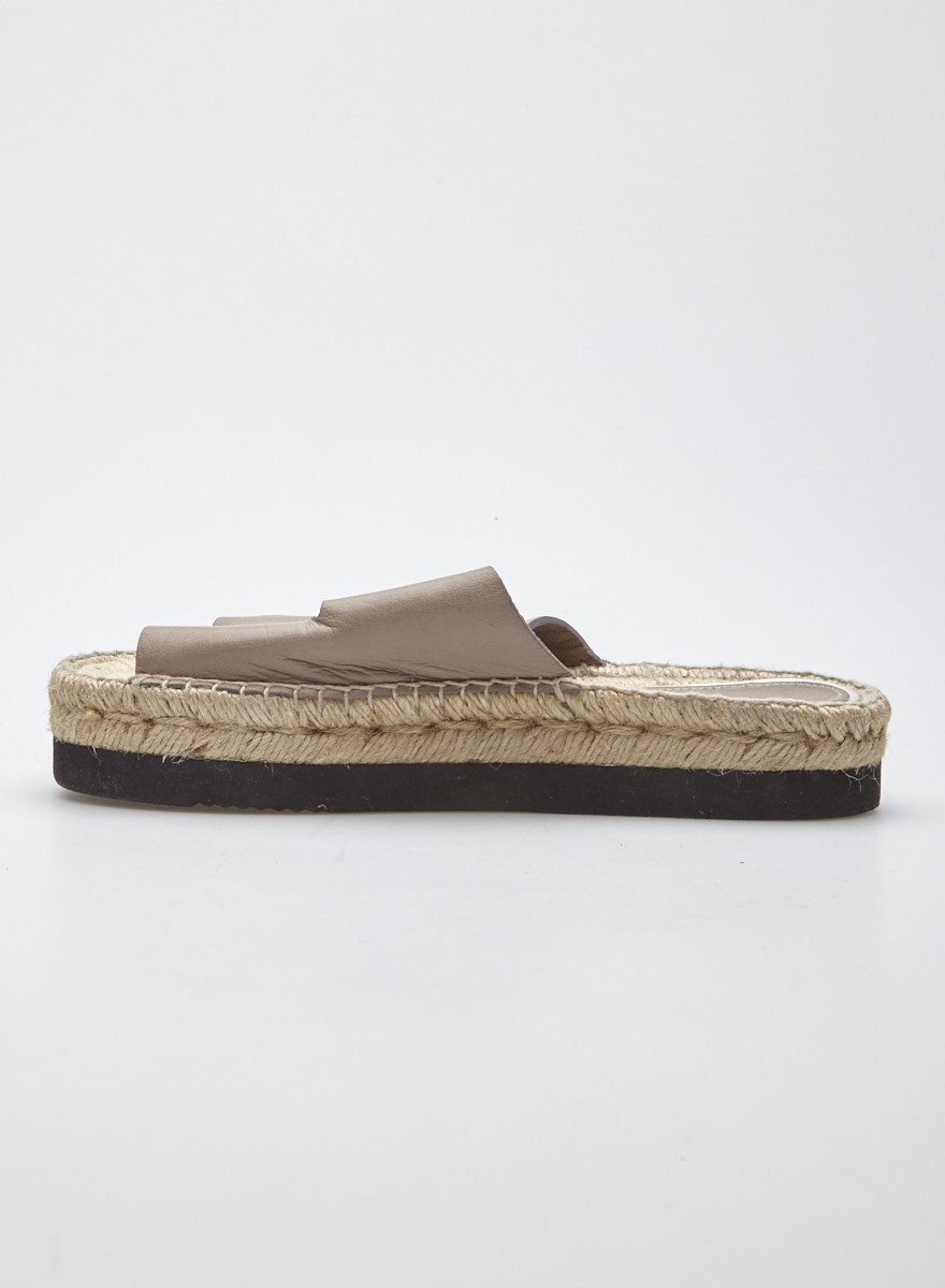 Paloma Barceló Taupe Leather and Woven Sandals