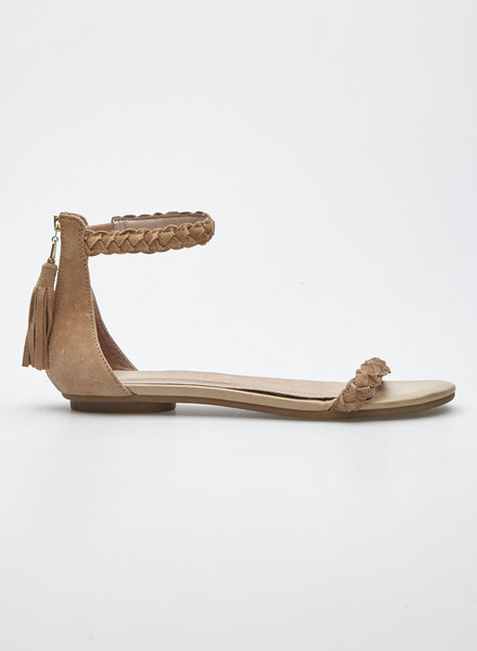 Joie LIGHT BROWN SUEDE SANDALS WITH TASSEL
