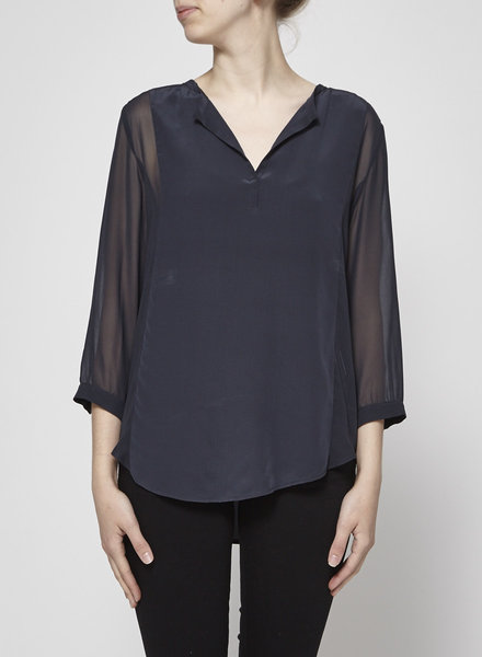 Judith & Charles DARK BLUE SEE-THROUGH SILK BLOUSE
