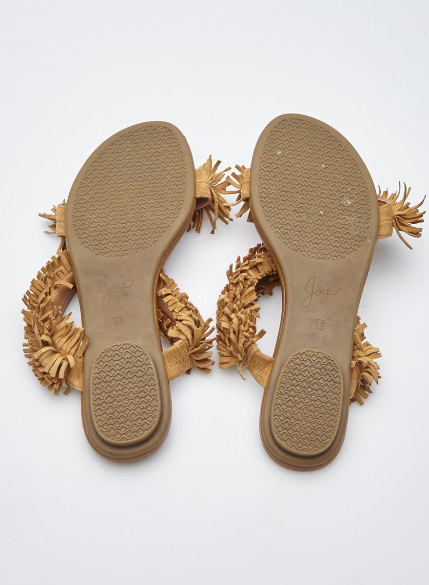 Joie Camel Suede Fringe Sandals