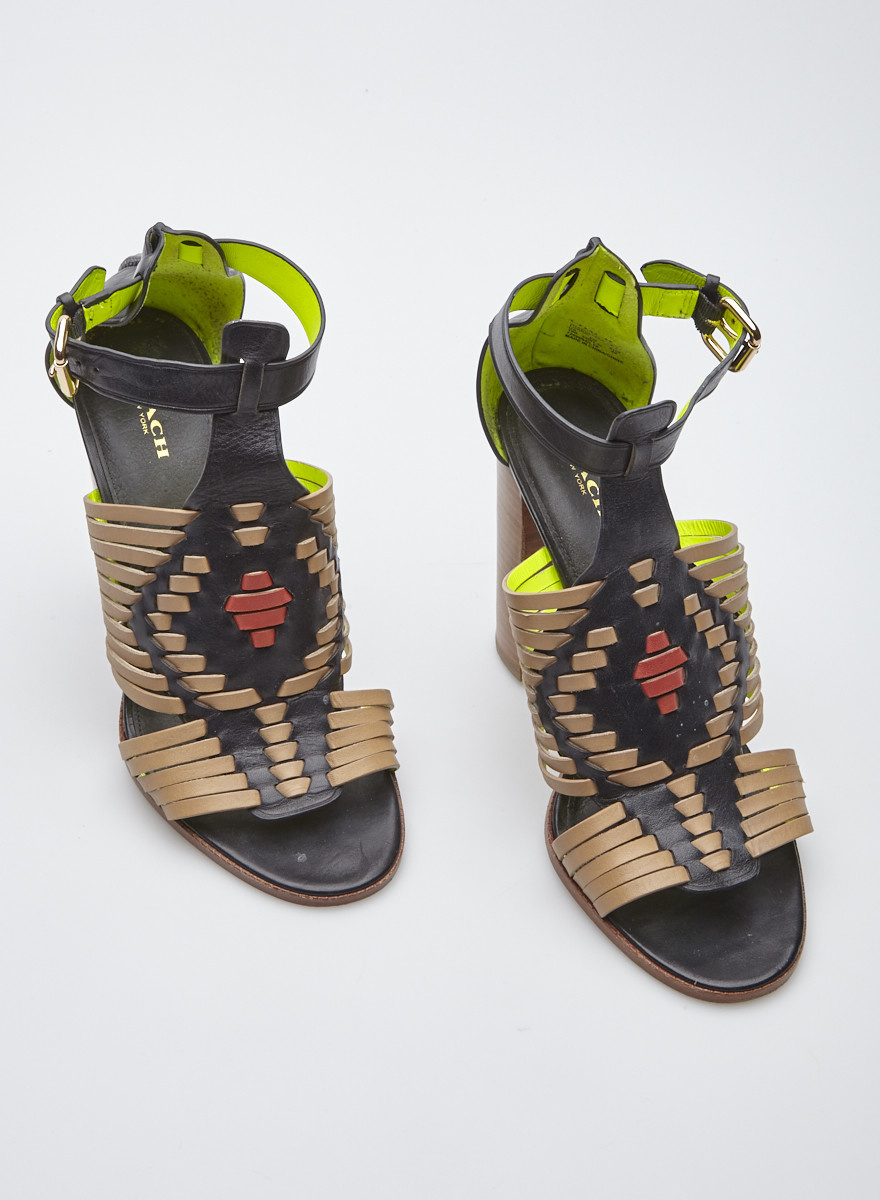 Coach Brown, Black and Red Leather Sandals