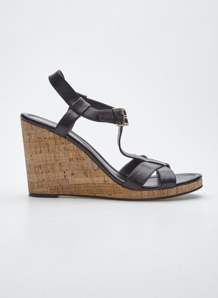 Cole Haan BLACK LEATHER SANDALS WITH CORK WEDGES