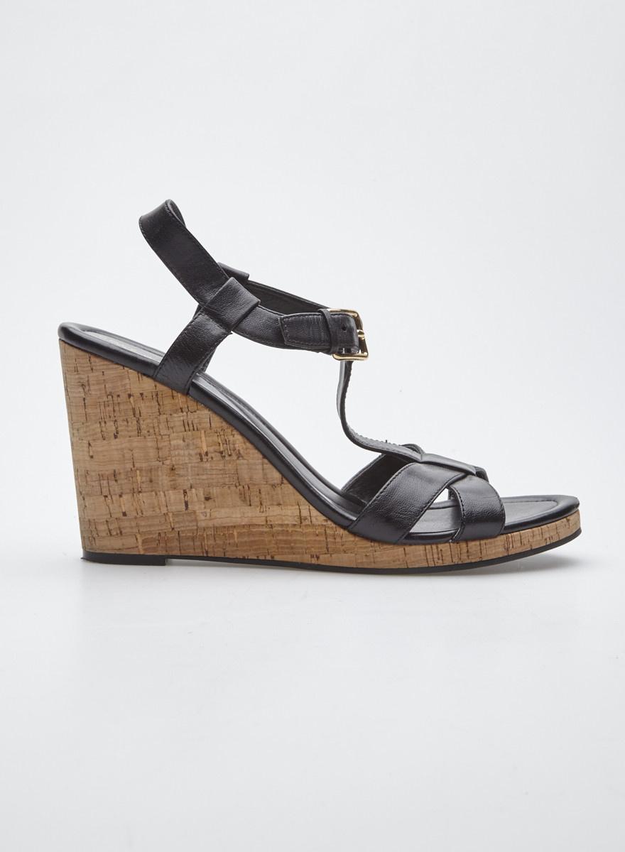 meilleur authentique 88d22 ebd29 Sandales noires à talons compensés en liège - Cole Haan