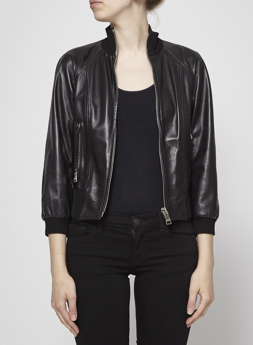 Dolce & Gabbana Black Leather Moto Jacket