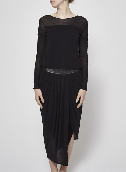 Helmut Lang BLACK DRAPED SKIRT DRESS LEATHER INSERTS