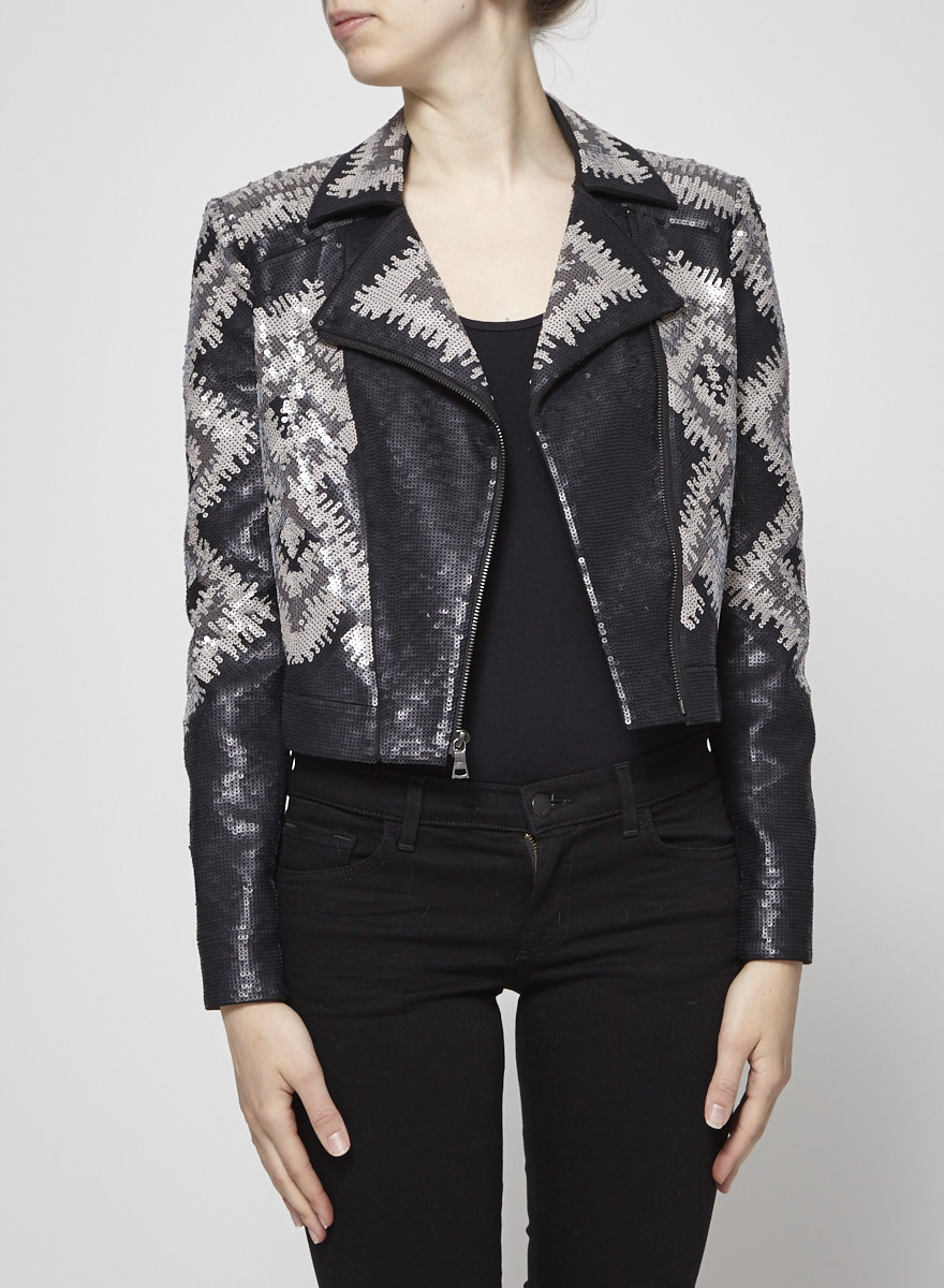 BCBG Max Azria Gray Sequined Short Jacket