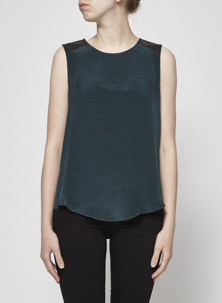Parker GREEN SILK TOP WITH LEATHER SHOULDER YOKE