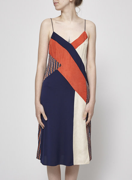 Diane von Furstenberg CORAL & BEIGE NAVY SILK DRESS