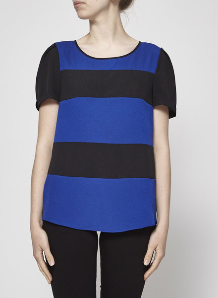 Maison Scotch BLACK AND ROYAL BLUE SLEEVELESS TOP