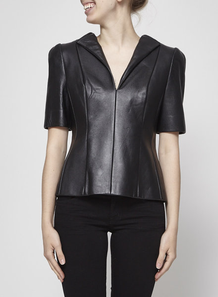 DUY BLACK STRUCTURED LEATHER TOP