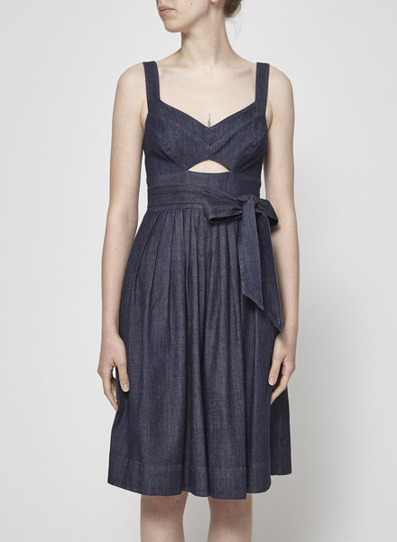 Club Monaco CHAMBRAY PLEATED DRESS