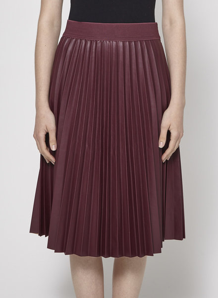 Sinequanone BURGUNDY PLEATED LEATHER EFFECT SKIRT - NEW