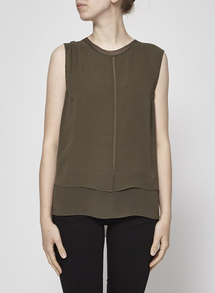 Vince KHAKI STRUCTURED SILK TOP