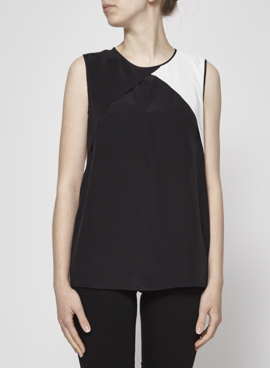 Cut25 by Yigal Azrouel Black and Off-White Silk Top