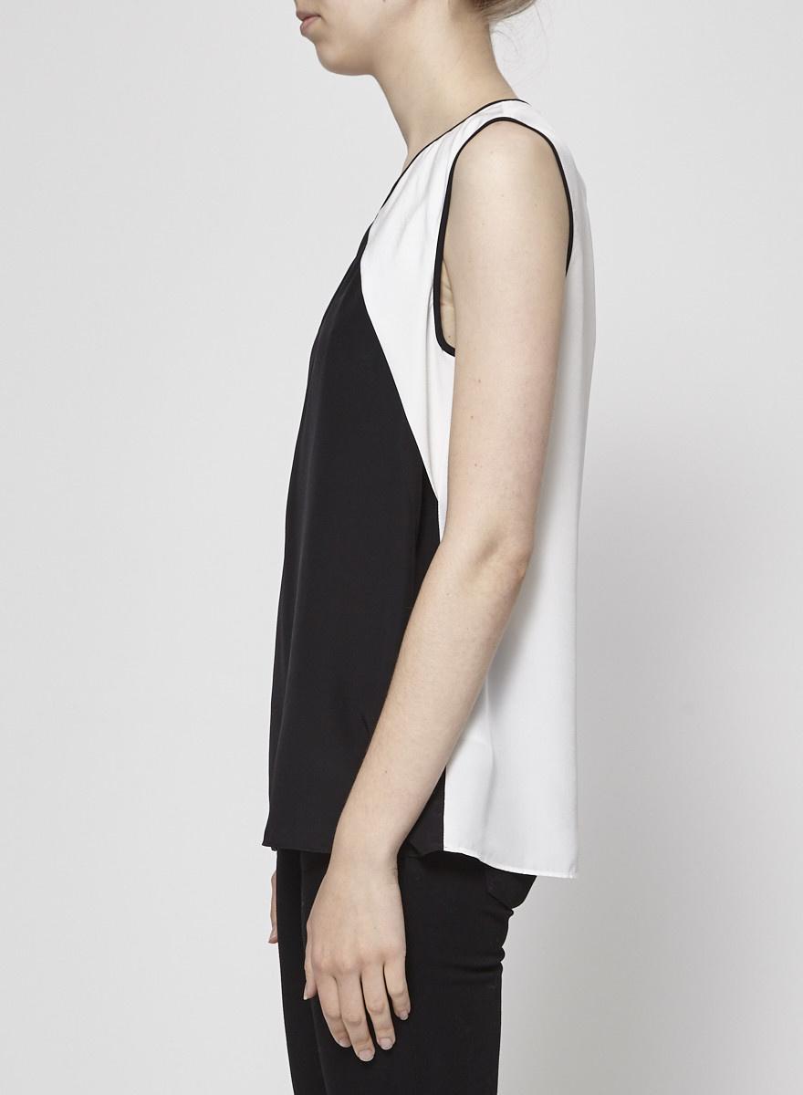 Cut25 by Yigal Azrouel Haut en soie noir et blanc