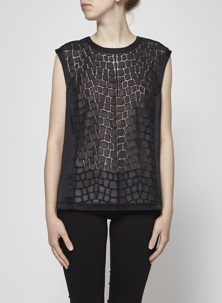 Helmut Lang BLACK SLEEVELESS TOP WITH LAMB LEATHER SECTIONS