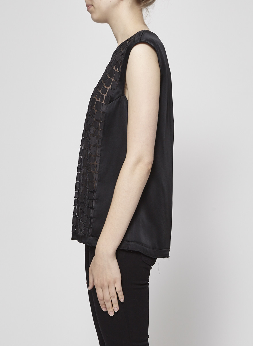 Helmut Lang Black Sleeveless Top with Leather Sections