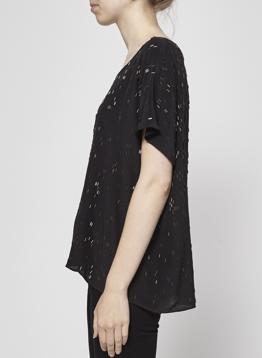 Eileen Fisher Black Silk Beading Top